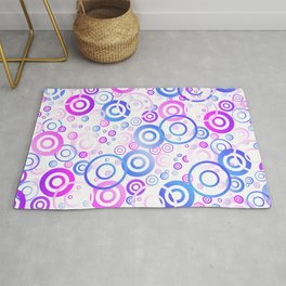 Blue, pink and purple circular pattern Rug