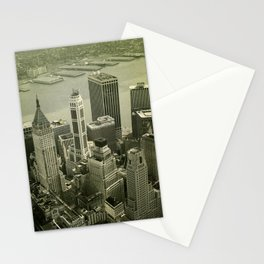 An old day in New York city. Skyline View of Financial District Stationery Cards