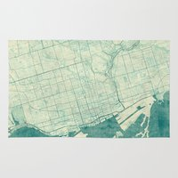 vintage map Area & Throw Rugs featuring Toronto Map Blue Vintage by City Art Posters