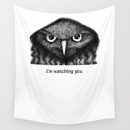 I'm watching you. Black and white hand drawn owl Wall Tapestry