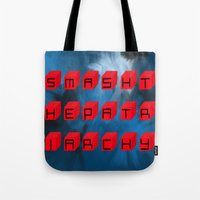 patriarchy Tote Bags featuring Smash The Patriarchy by pandaliondeath