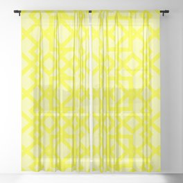 Yellow Box and Triangle Sheer Curtain