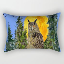 OWL WITH FULL MOON & TREES NATURE BLUE DESIGN Rectangular Pillow