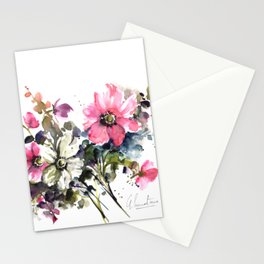 Blooming Joy Watercolor Loose Floral Painting by Mylittlebasil.studio Stationery Cards