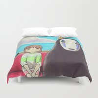 spirited away Duvet Covers featuring Spirited Away by Janice Wong
