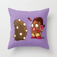 potato Throw Pillows featuring Potato Potaato by Artistic Dyslexia