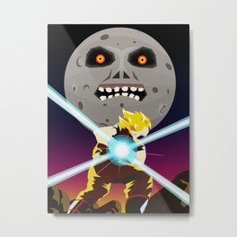 Goku VS Moon Metal Print