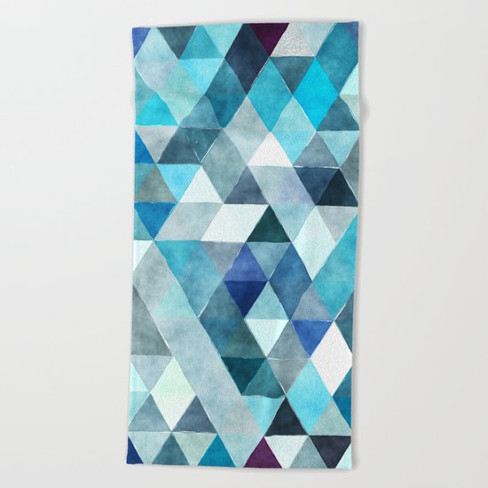 Retro Triangles Pattern 01 Beach Towel
