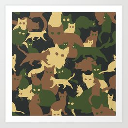Find a cat (camouflage pattern) Art Print