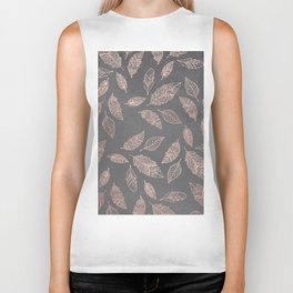 Rose gold hand drawn boho feathers hand drawn grey industrial concrete cement Biker Tank