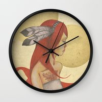 redhead Wall Clocks featuring Redhead Indian by Oscar Civit
