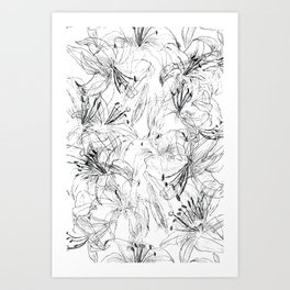 lily sketch black and white pattern Art Print