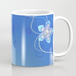 Blue background with silver flowers Coffee Mug