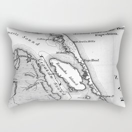 Vintage Map of The Outer Banks (1862) BW Rectangular Pillow