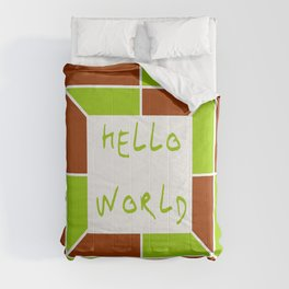 hello world 5 green and brown Comforters