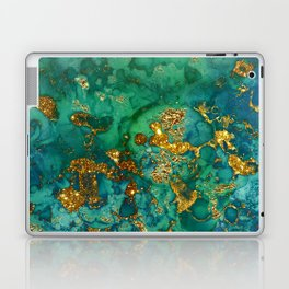 Malachite and Gold Glitter Stone Ink Abstract Gem Glamour Marble Laptop & iPad Skin