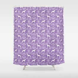 Italian Greyhound silhouette floral dog breed unique pet breed gifts Shower Curtain