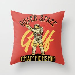 Outer Space Golf Championship Throw Pillow