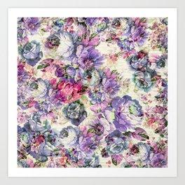 Vintage bohemian rustic pink lavender floral Art Print