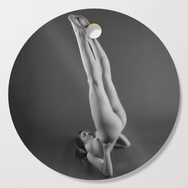 1748s-MS Shoulder Stand BW Art Nude Yoga Cutting Board
