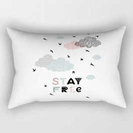 """Poster with sky and """"stay free"""" quote  Rectangular Pillow"""