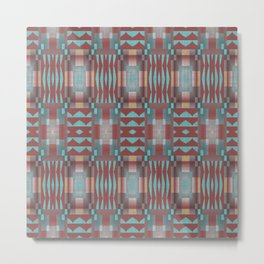 Coral Red Brown Aqua Turquoise Mosaic Pattern Metal Print