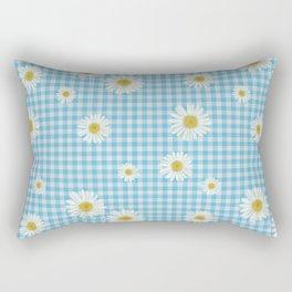 Daisies On Blue Gingham Rectangular Pillow