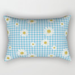 Daisies On Blue Gingham Rectangular Pillow