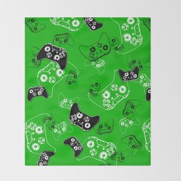 Video Game Green Throw Blanket