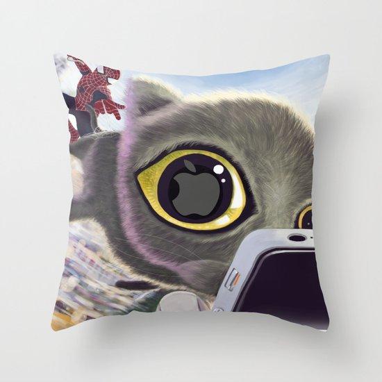 Falling Cat & Hero Throw Pillow