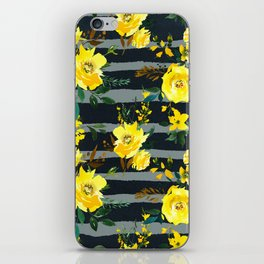 Yellow black gray watercolor modern floral stripes iPhone Skin