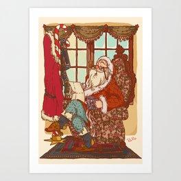 Santa Claus read Art Print