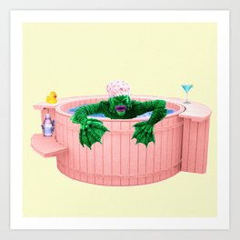 Black Lagoon Monster In Hot Tub Art Print