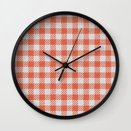 Tomato Buffalo Plaid Wall Clock