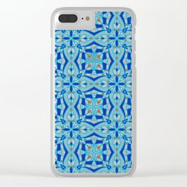 Mediterranean blue tiles Clear iPhone Case