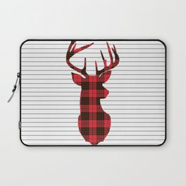 Plaid Deer Head on Minimal Stripes Laptop Sleeve