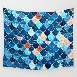 REALLY MERMAID BLUE & GOLD Wall Tapestry