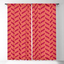 Herringbone geometric chevron living coral pattern Blackout Curtain