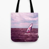 surfer Tote Bags featuring surfer by Claudia Drossert