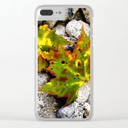 Leaves in Gray Clear iPhone Case