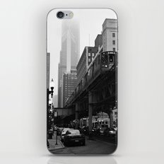 El on a Foggy Day Chicago Black and White Photo iPhone & iPod Skin