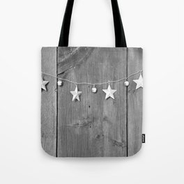 Stars on Wood (Black and White) Tote Bag