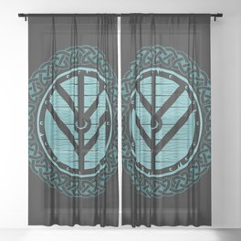 Viking Shield Maiden Norse Knot Work & Teal Shield Sheer Curtain