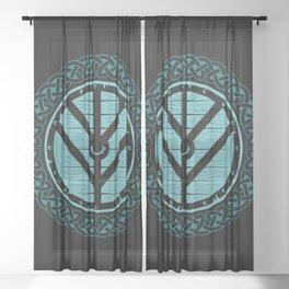 Viking Shield Maiden Norse Knot Work & Teal Shield Sheer Curtain