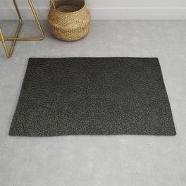 Black Leather Realistic Print Rug