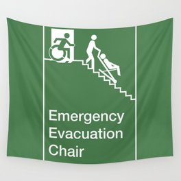 Accessible Means of Egress Icon, Emergency Evacuation Chair Sign Wall Tapestry