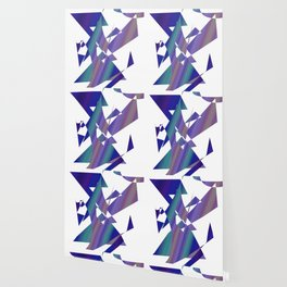 geometrical abstract colored shapes of blue Wallpaper