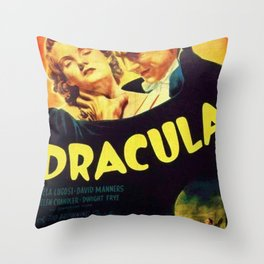 Vintage 1931 Bela Lugosi Dracula Movie Advertisement Poster Throw Pillow