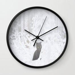 Black Cat White Snow #decor #society6 Wall Clock