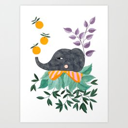 elephant with oranges and leaves watercolor illustration Art Print